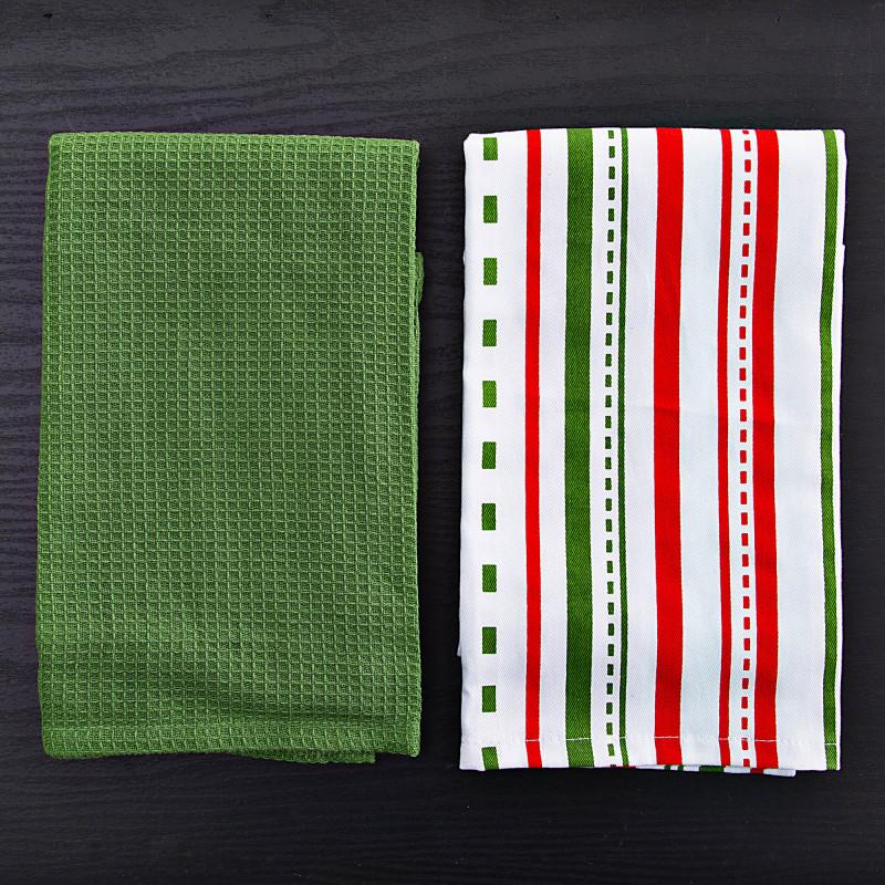 Juego de 2 toallas de cocina Verde Sólido / Líneas Haus