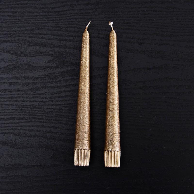 Juego de 2 velas para candelabros Dorado Textura