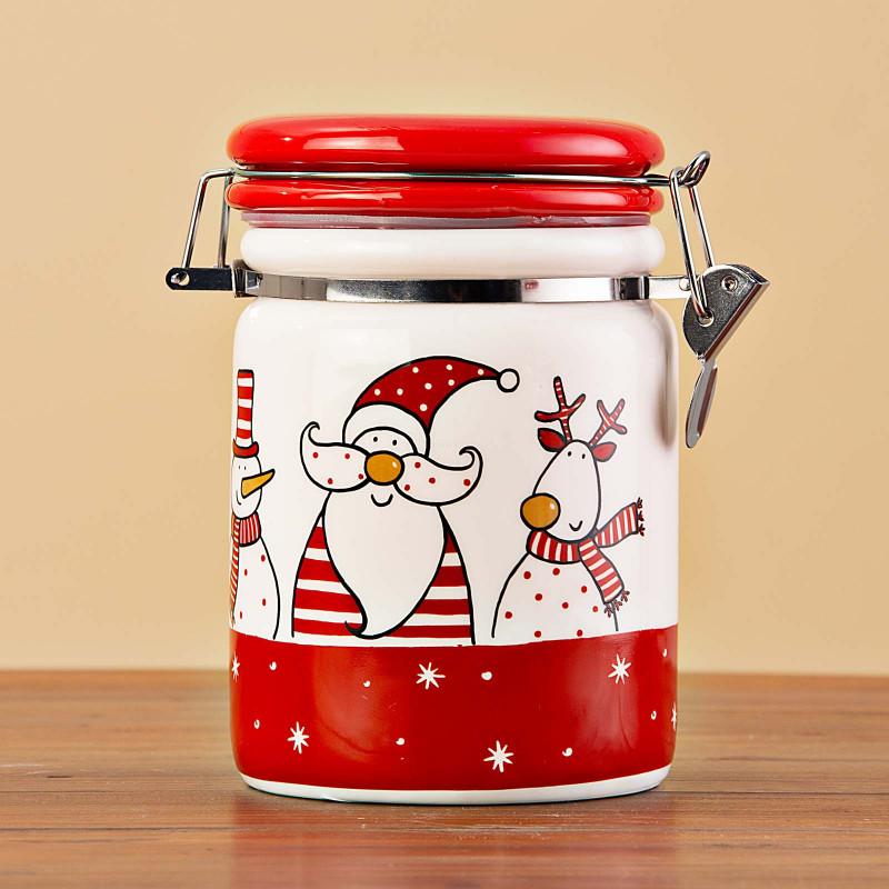 Repostero hermético con tapa Santa / Reno / Muñeco de Nieve Ho Ho Ho