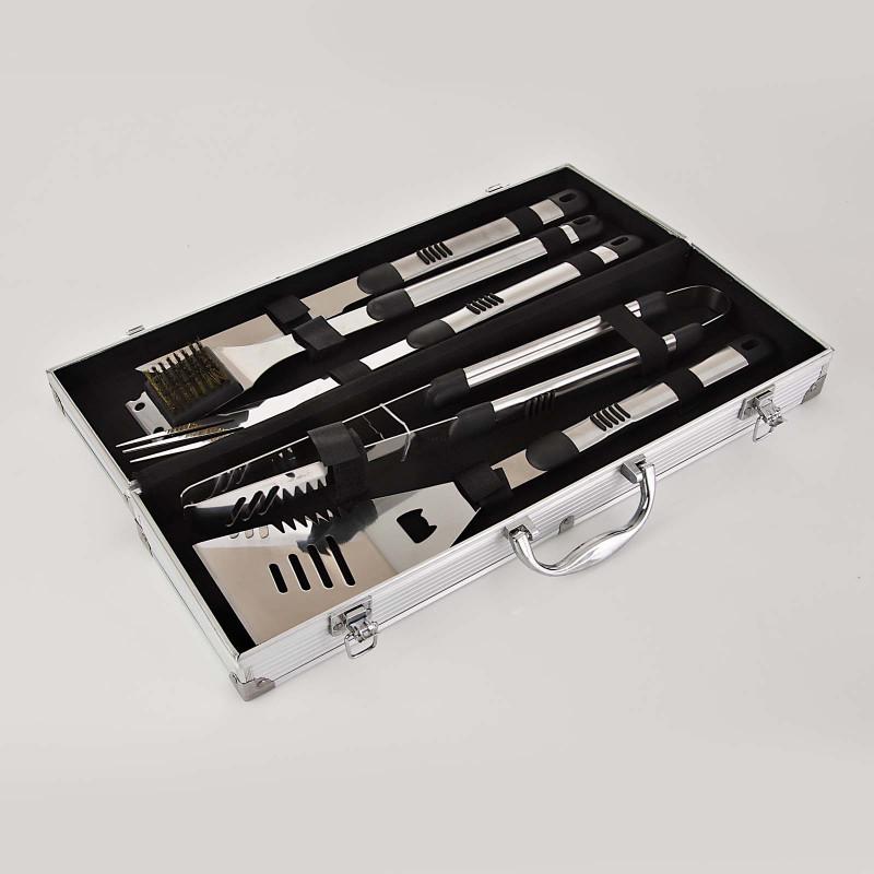 Juego de 5 utensilios para BBQ con caja metálica