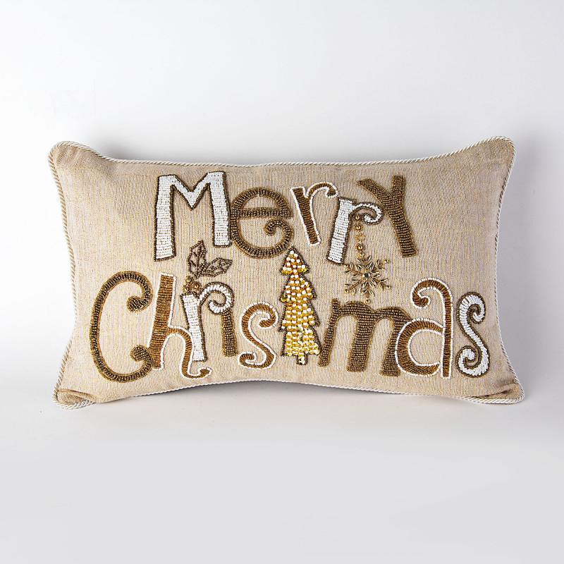 Forro para cojín con mullos Merry Christmas Haus
