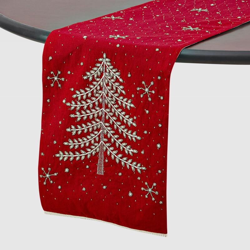 Camino de mesa con mullos Árbol de Navidad Haus