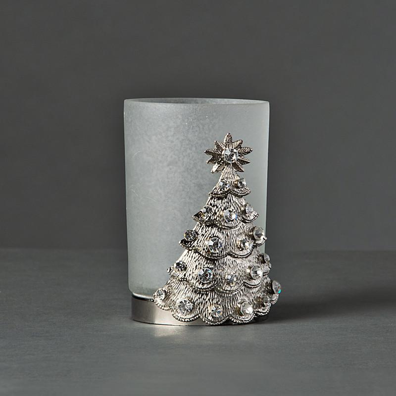 Portavotiva Frost Aplique Árbol Silver / Brillos Haus