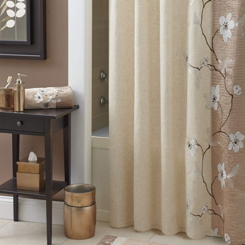 Cortina de baño Magnolia Bronze Croscill