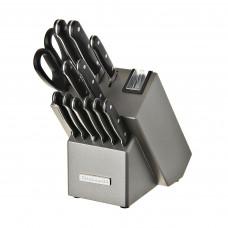 KitchenAid Cuchillos con bloque Mango negro / Acero inoxidable 14 piezas KKFTR14SL