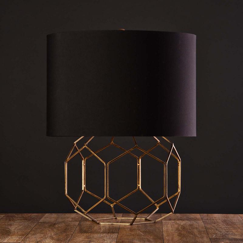 Lámpara de mesa Base Dorada Geométrica Haus