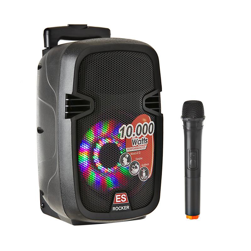 "Parlante para fiesta 8"" con Batería /10000W PMOP / BT / USB / Micrófono inalámbrico"