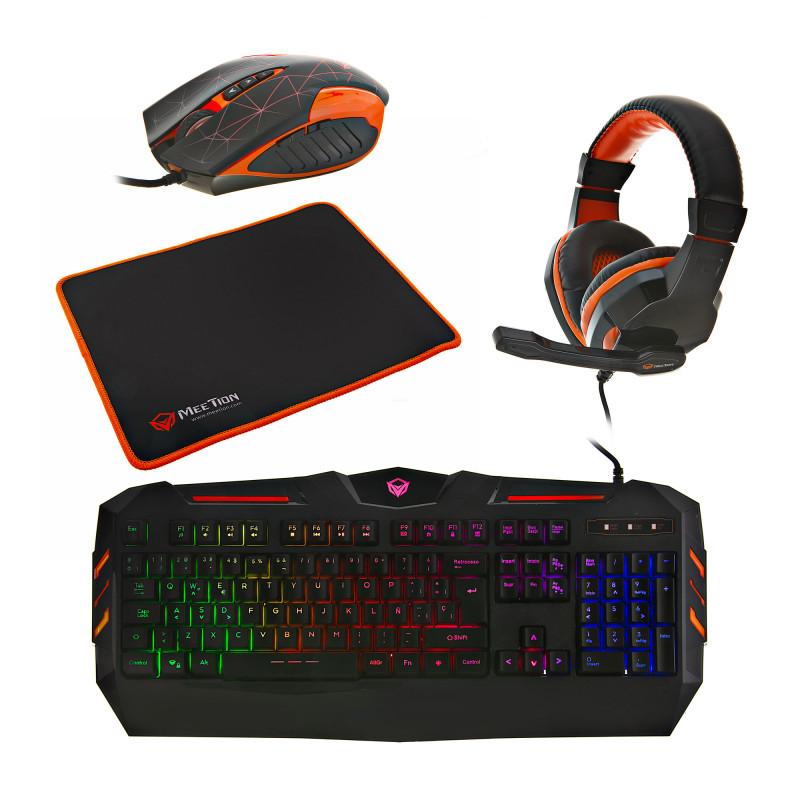 Combo Gaming Teclado + Mouse + Audífonos + Mouse Pad MT-C500 Meetion