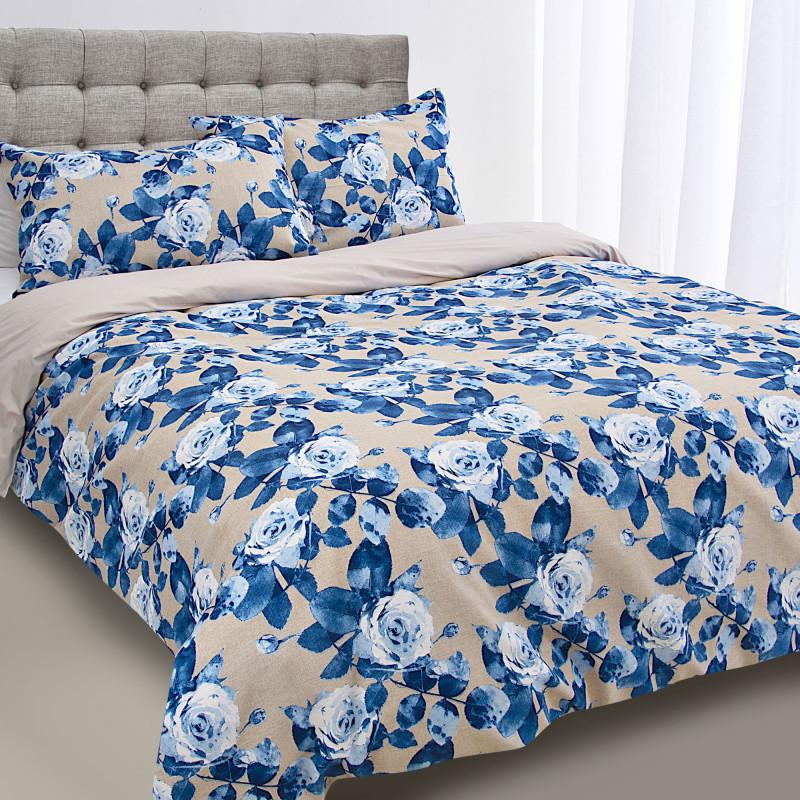 Juego de duvet Flores Azul / Crudo