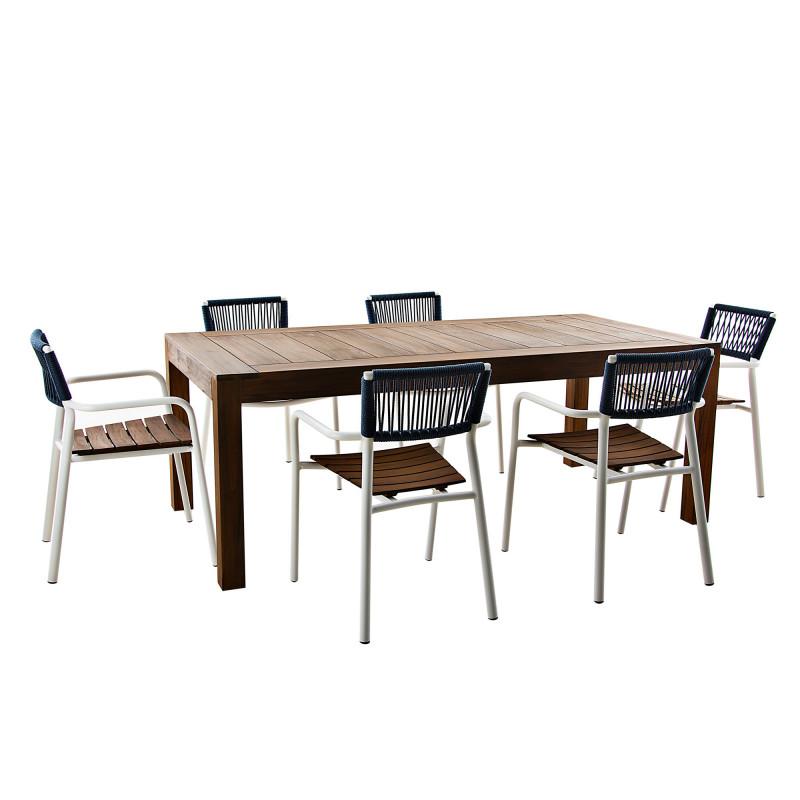 Comedor para exterior 6 puestos / 7 piezas Santorini