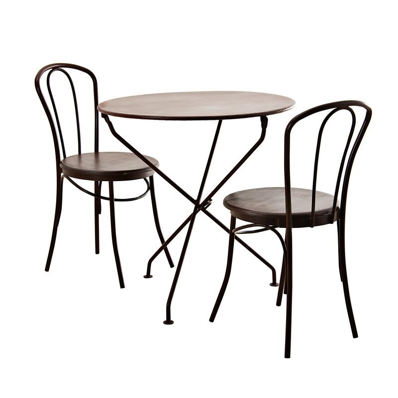 Mesa plegable con 2 sillas Bronce Haus