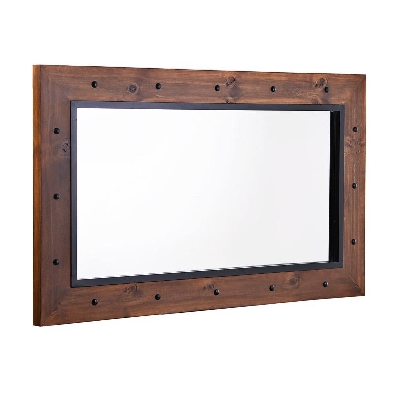 Espejo de madera de pino / hierro