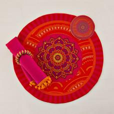 Individual con servilleta, posavaso y aro para servilleta 4 piezas Mandala