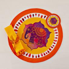 Individual con servilleta, posavaso y aro para servilleta 4 piezas Elefante