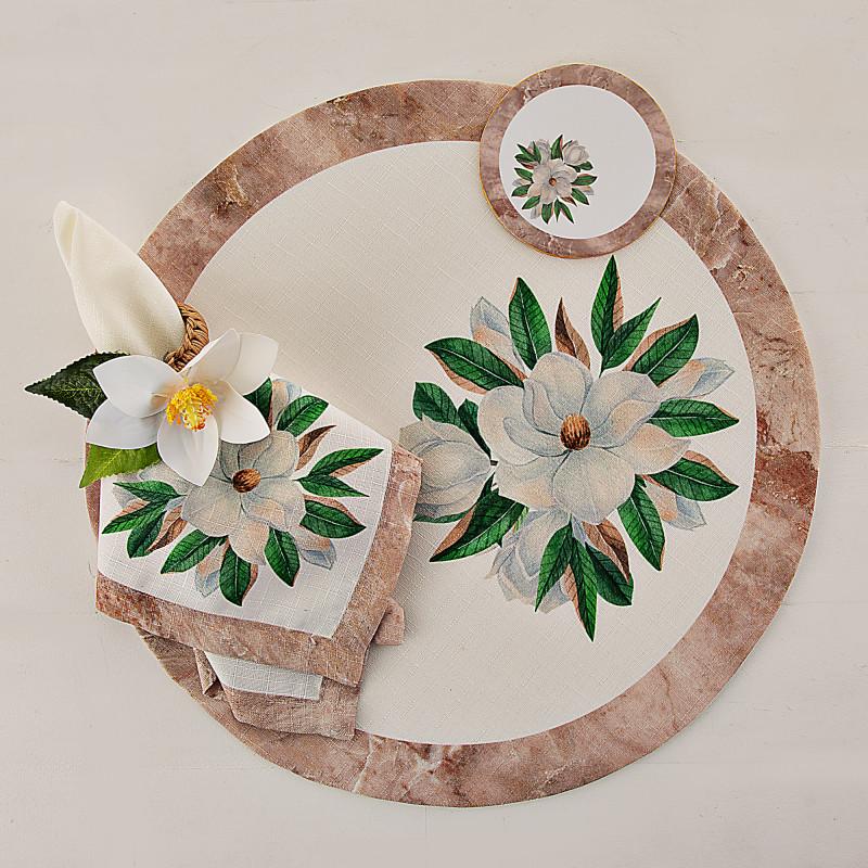Individual con servilleta, posavaso y aro para servilleta 4 piezas Magnolia