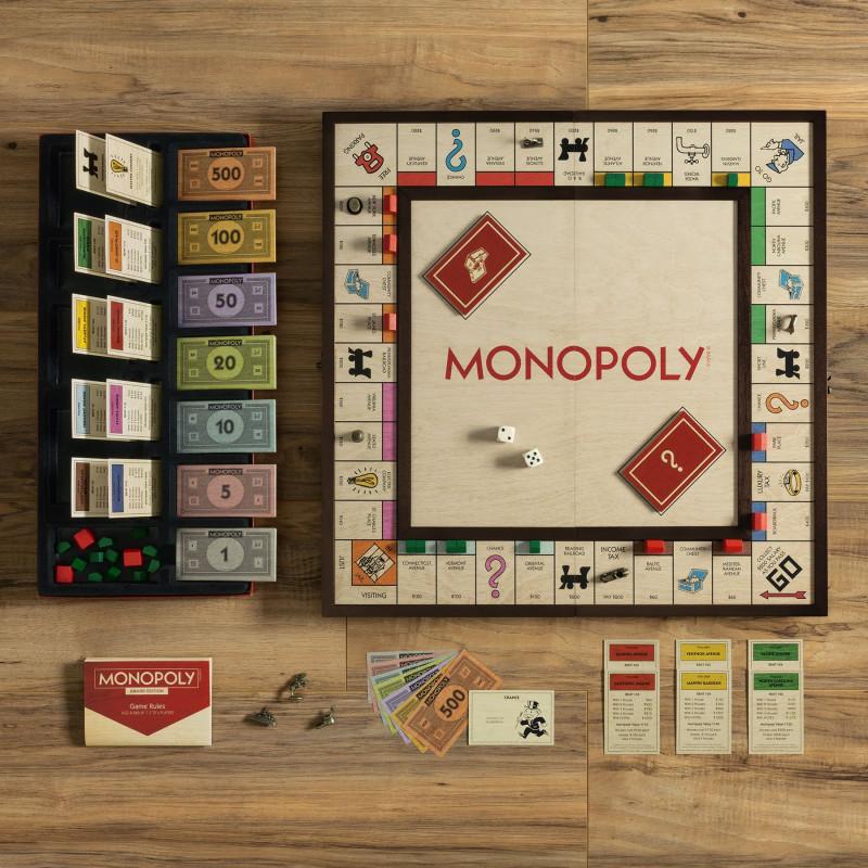 Juego de mesa Monopolio plegable Madera Gran Edición con accesorios premiu 2-6 jugadores