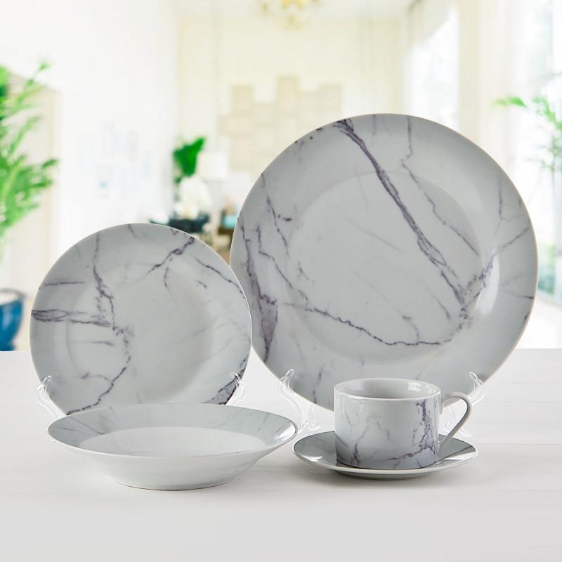 Vajilla de 20 piezas Marmoleado Blanco / Gris Haus