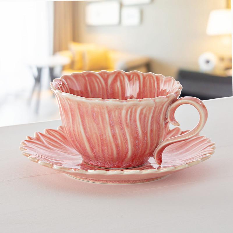 Juego de taza y plato para té Coral Etsy Haus