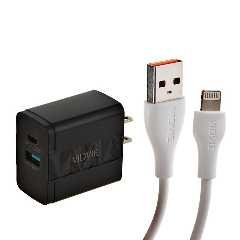 Cargador para pared con puerto Tipo-C / USB y cable Lightning PLM330C/I5 VIDVIE