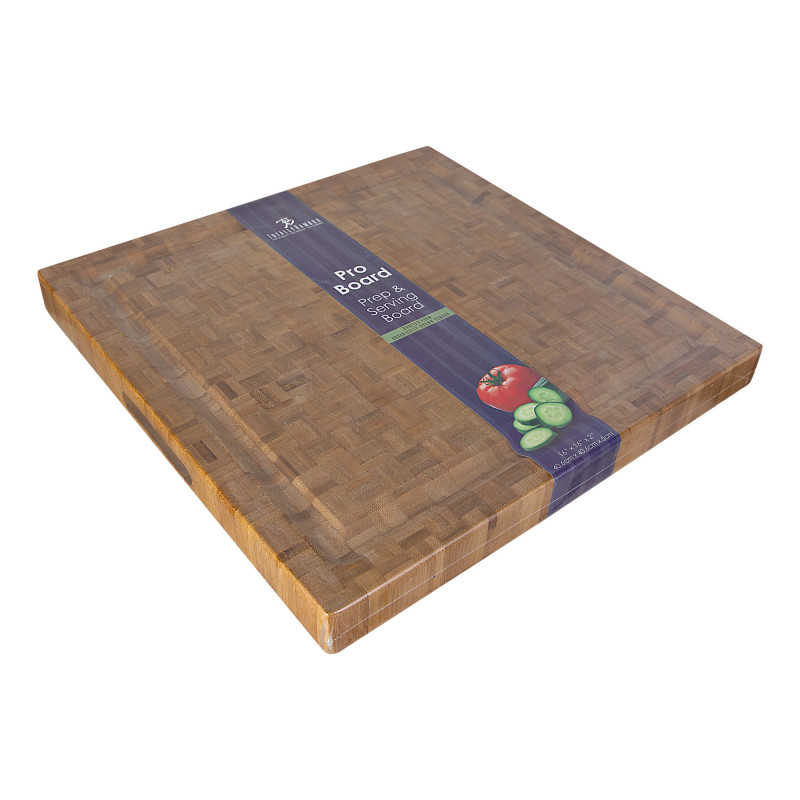Tabla gruesa antimicrobiana para picar con canal Pro Board Totally Bamboo