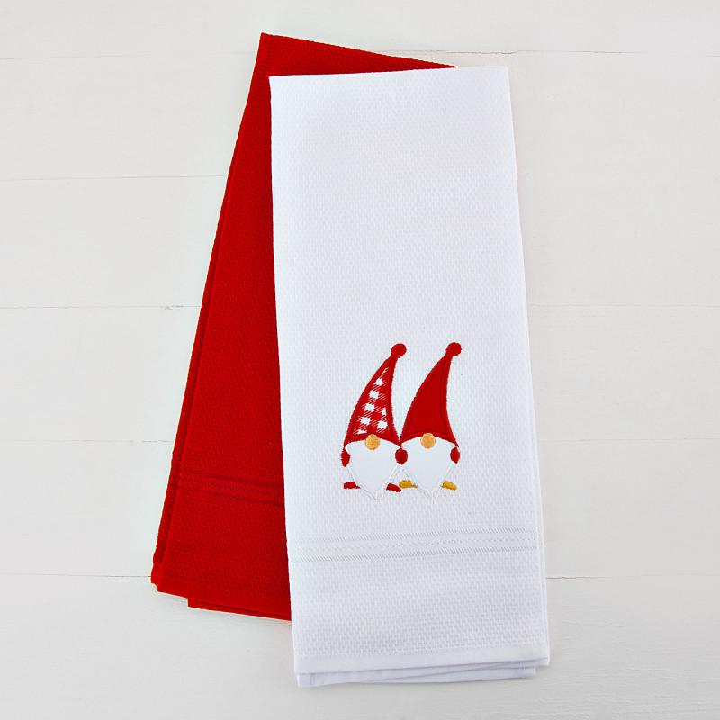Juego de 2 toallas para cocina Blanco Nomos / Rojo Sólido San Pedro