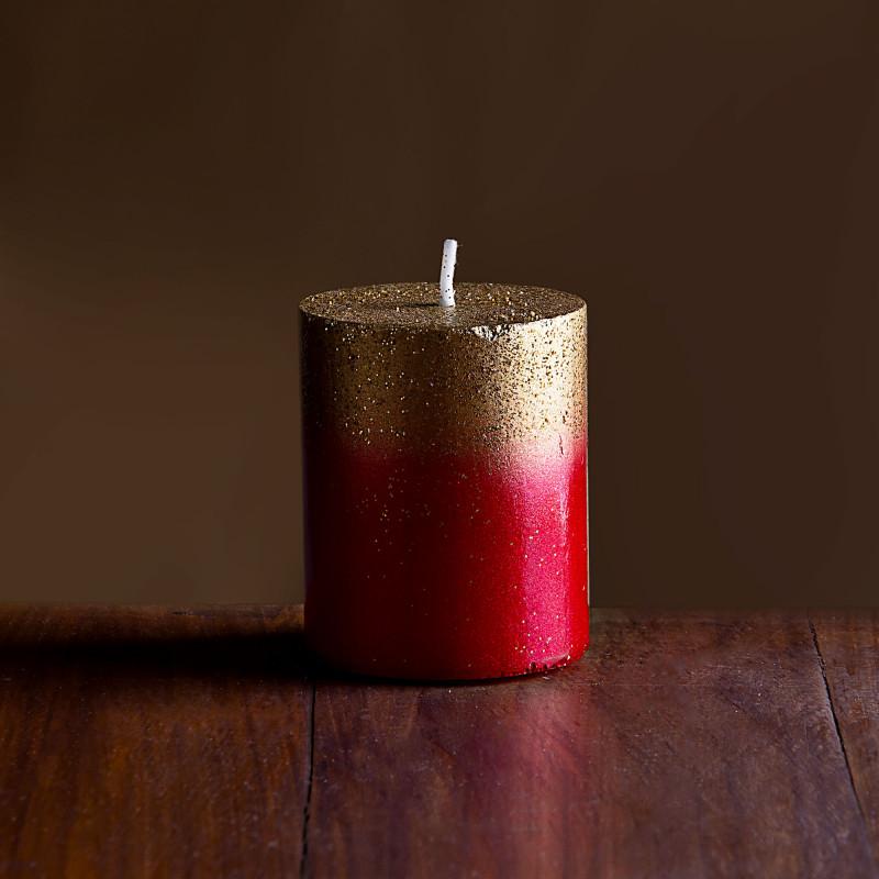 Vela pilar Rojo / Dorado