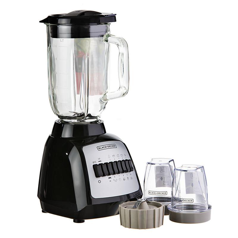 Licuadora 10 velocidades + Puleso con vaso de vidrio de 1.25 L / 2 vasos mini de 200ml 550W BLBD210GB Black & Decker