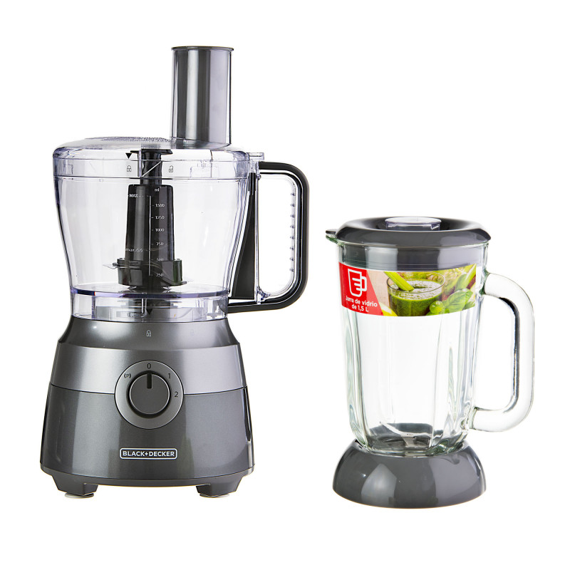 Procesador de alimentos de 10 tazas 2 velocidades con 4 cuchillas + vaso de licuadora 1.5L 600W FP5501 Black & Decker