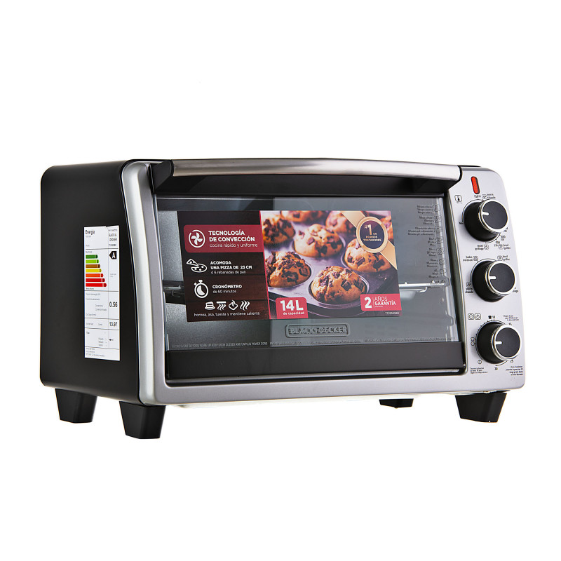 Horno tostador para 6 rebanadas de pan con convección 1350W TO1950SBD Black & Decker
