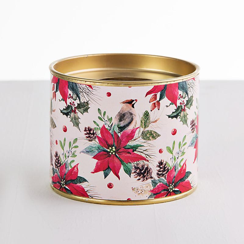 Vela con contenedor de metal y mecha de madera Poinsettia / Pájaro