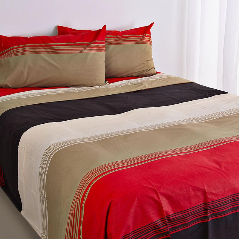Juego de sábanas Líneas Rojo / Negro