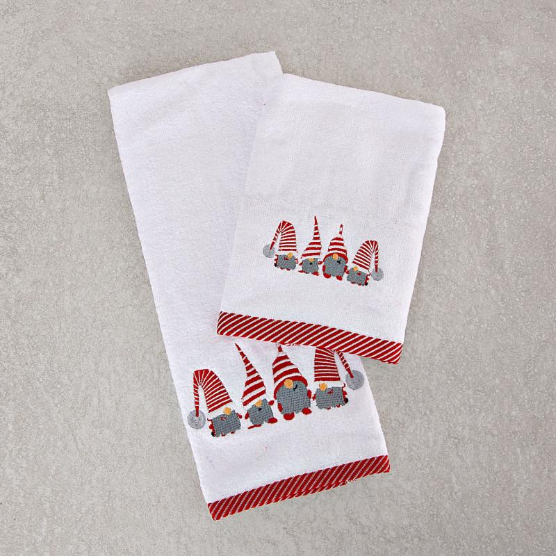 Juego de 2 toallas de tocador / facial Gnomos Orillo Navidad San Pedro