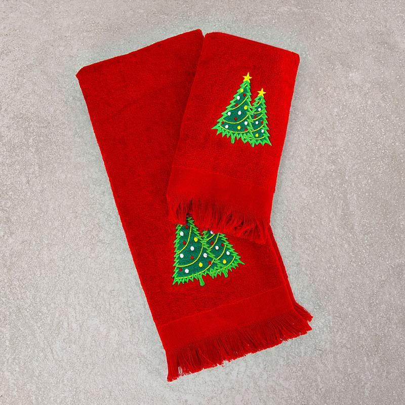 Juego de 2 toallas de tocador / facial Árbol de Navidad San Pedro