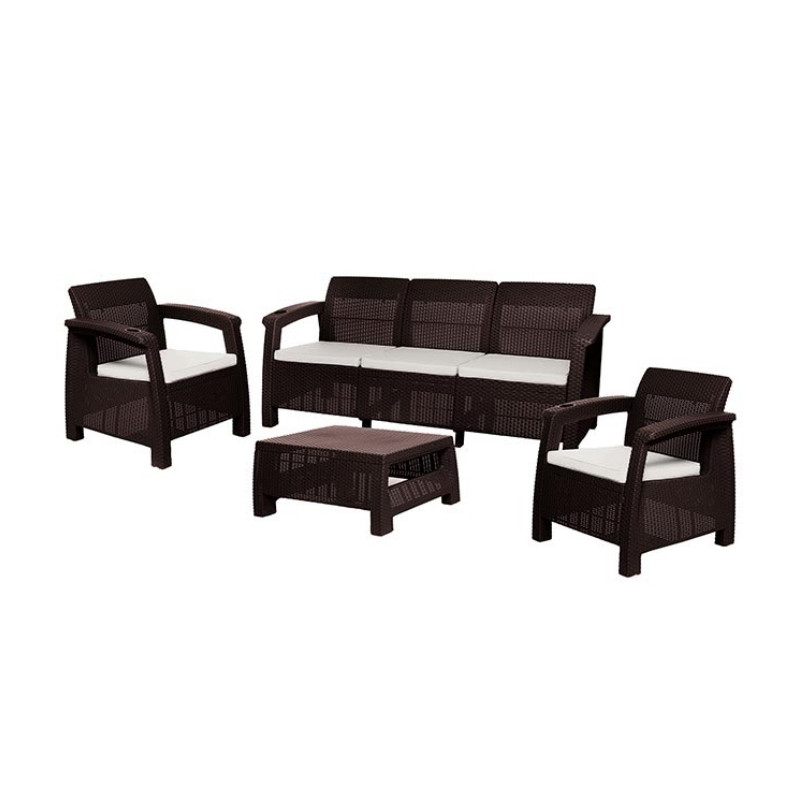 Sala con sillón de 3 puestos y cojines Ferrara 4 piezas