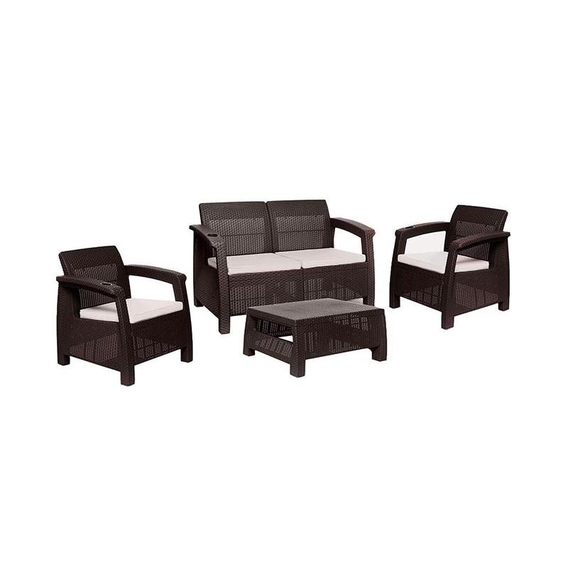 Sala con sillón de 2 puestos y cojines Ferrara 4 piezas