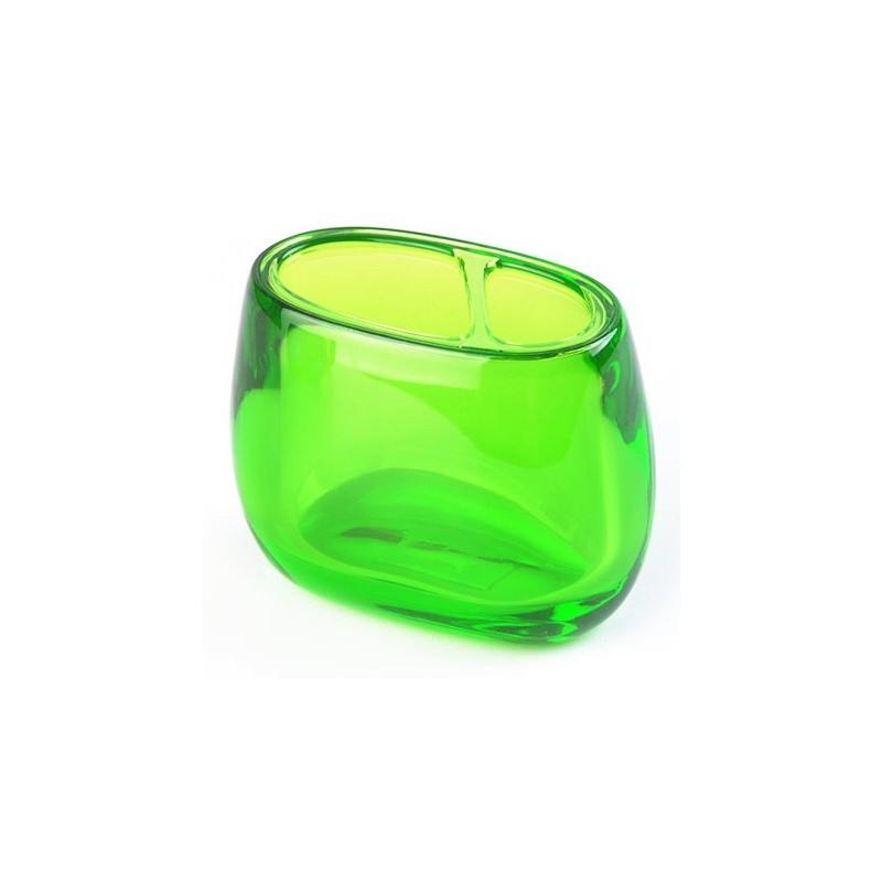 Porta cepillos verde acrílico