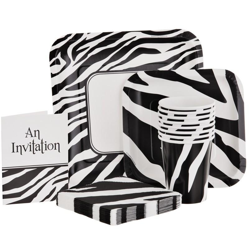 Juego de 8 invitaciones Animal Print Zebra Creative Converting