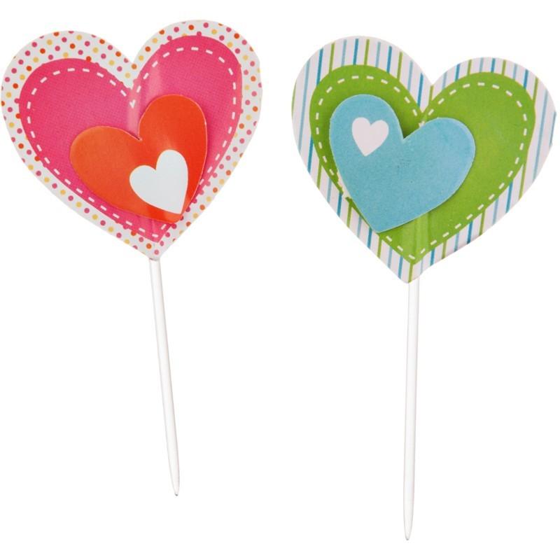 Juego de 12 pinchos para cupcakes Corazón Wilton
