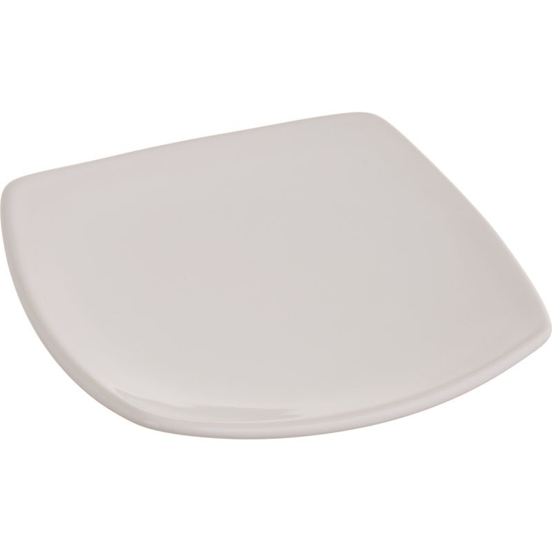 Plato cuadrado blanco para postre