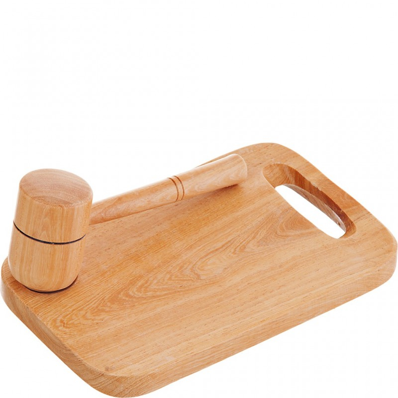 Tabla con mazo para cangrejo de madera
