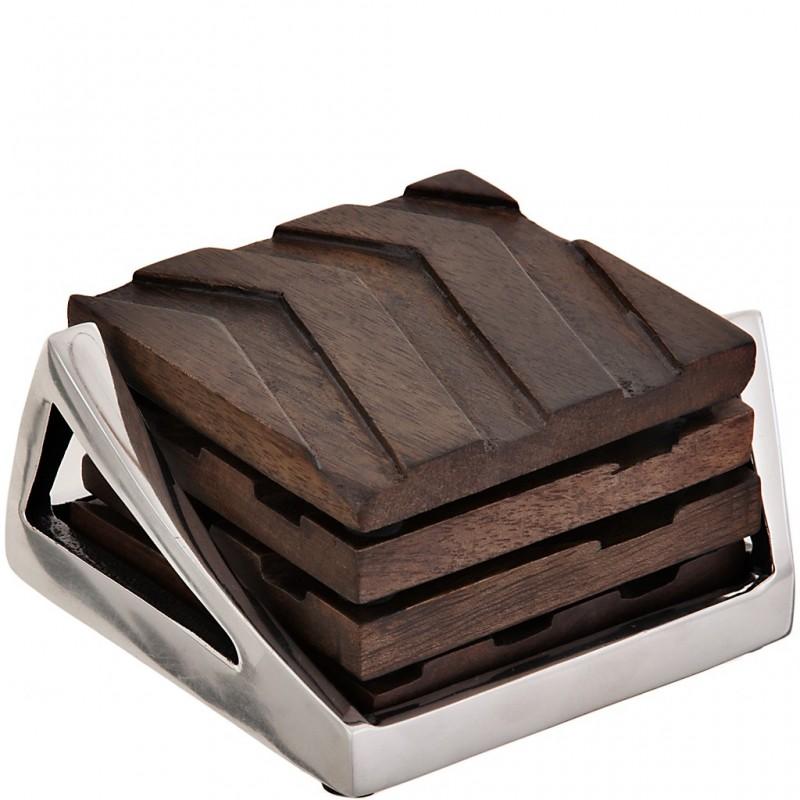 Juego de 4 posa vasos de madera con base aluminio