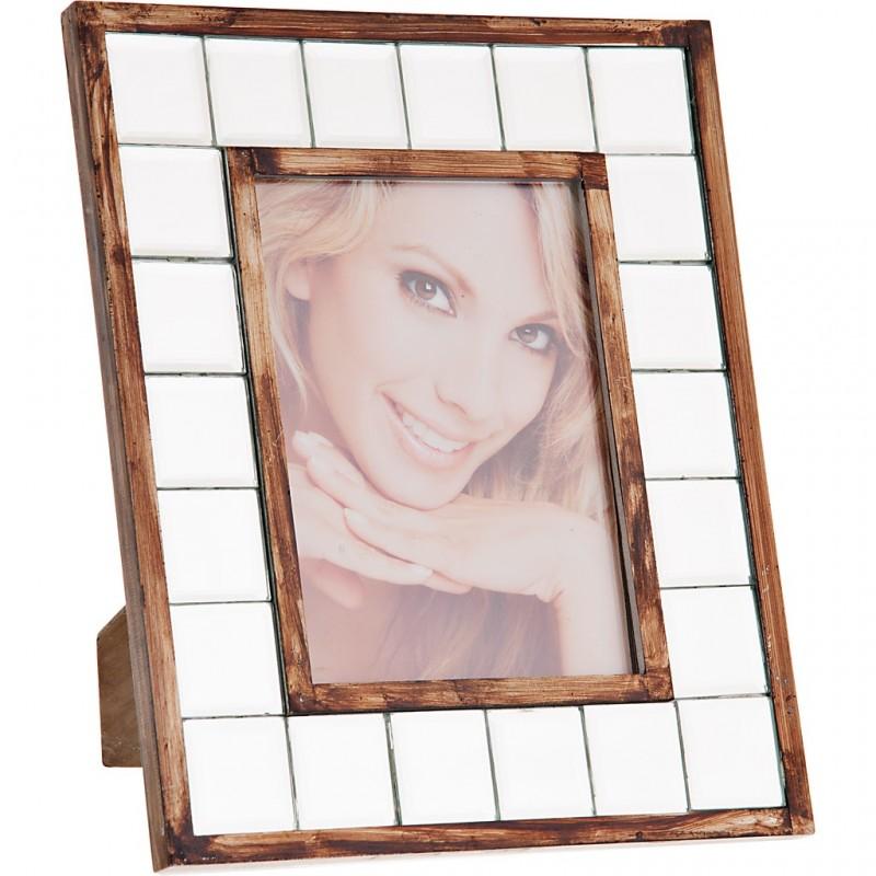 Portarretrato con borde de madera y vidrio