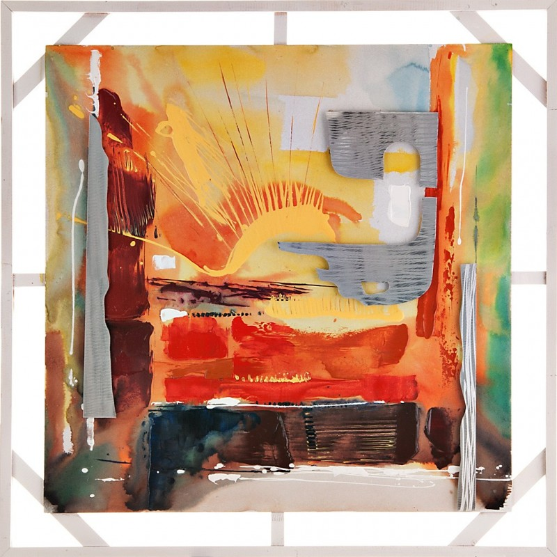 Cuadro abstracto con apliques 100x100 cm