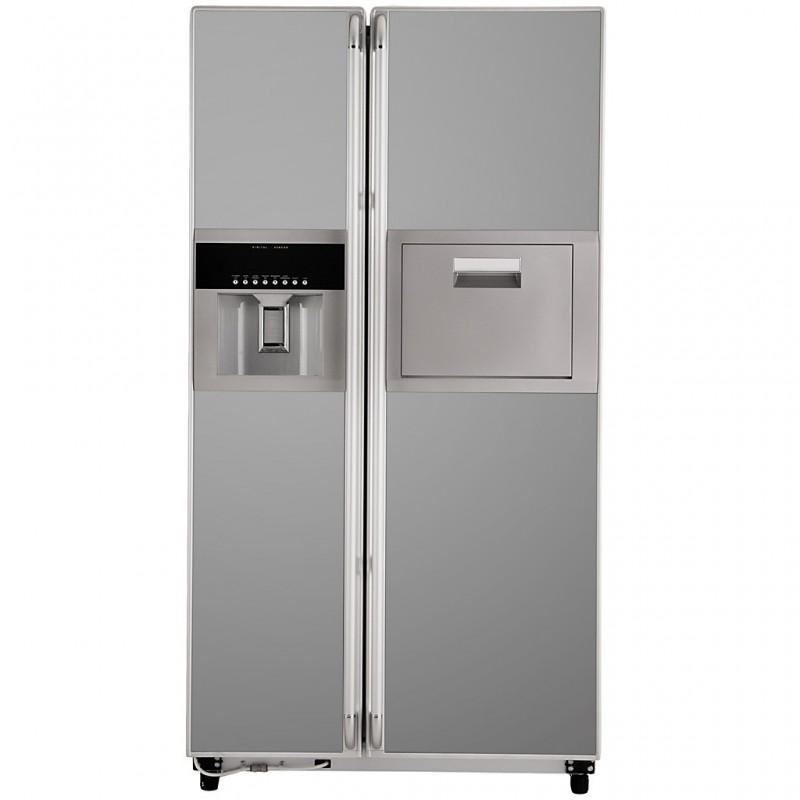 Refrigerador side by side con dispensador y bar 541L vidrio Haceb