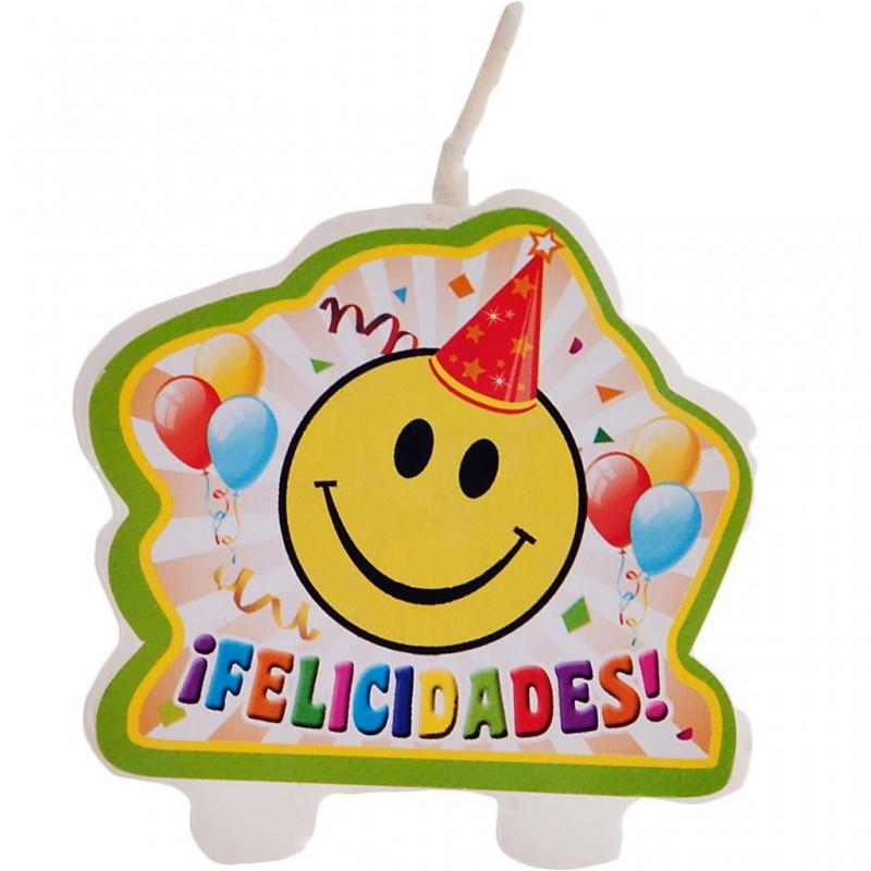 Vela Felicidades Carita Feliz