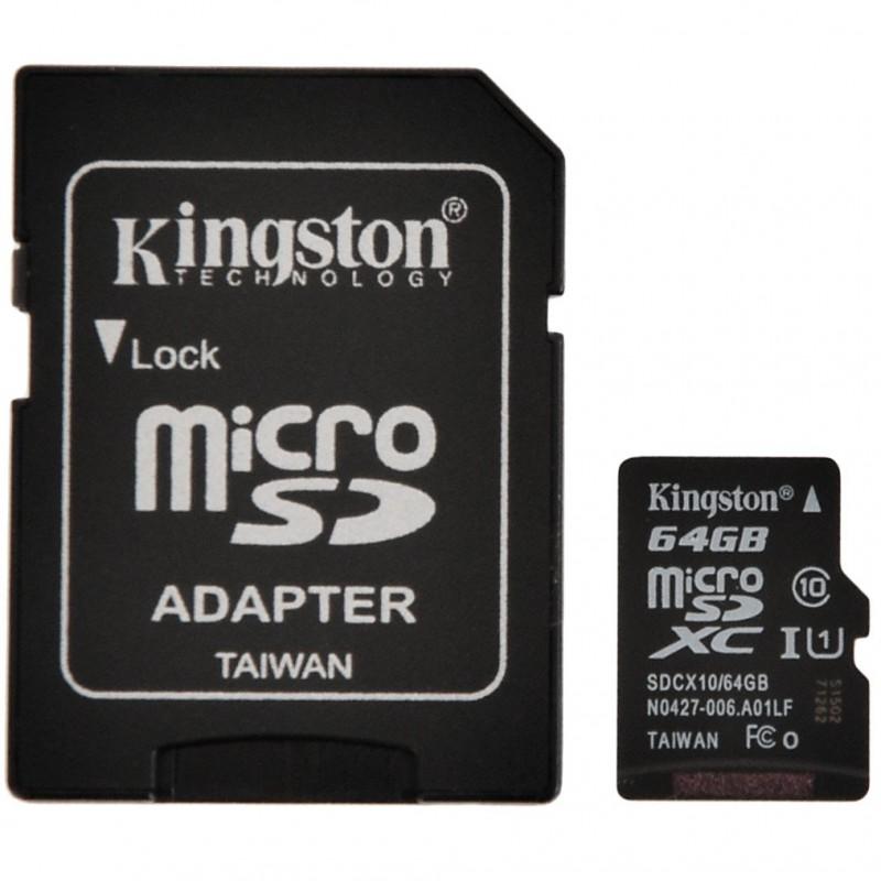 Memoria micro SD 64GB Clase 10 con adaptador Kingston