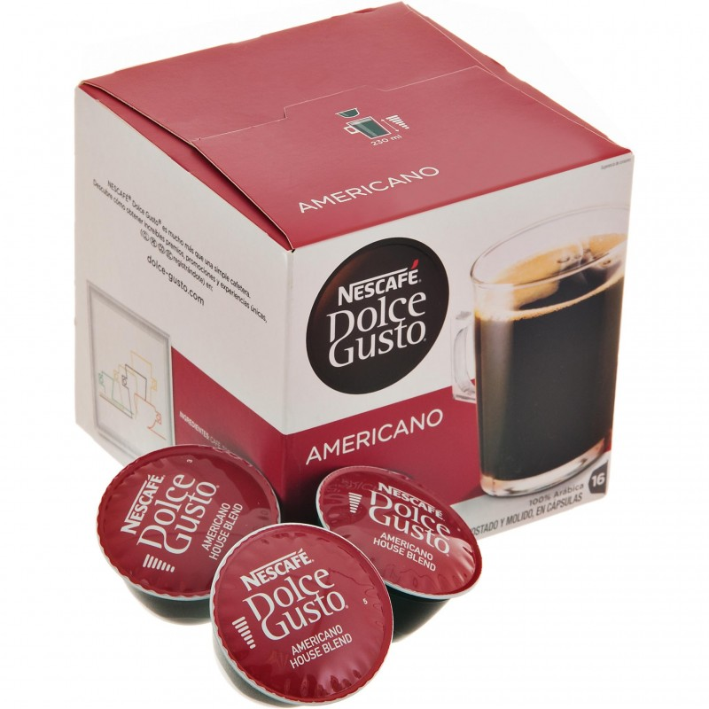 Caja de 16 cápsulas para café Americano Dolce Gusto