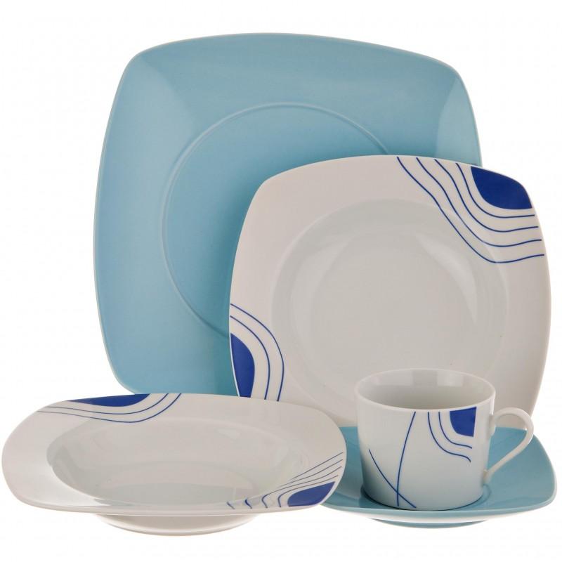 Vajilla de 20 piezas para 4 puestos azul Haus