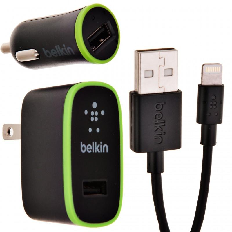 Cargador pared y auto con cable Lightning-USB Belkin