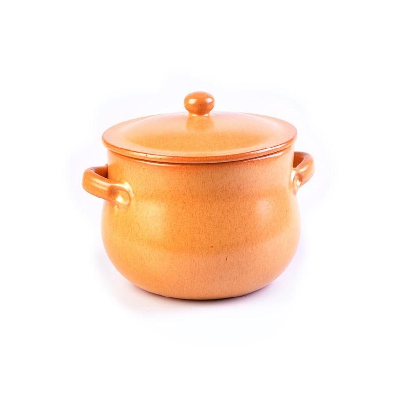 Olla con tapa  20 cm Tabacco De Silva Ceramiche